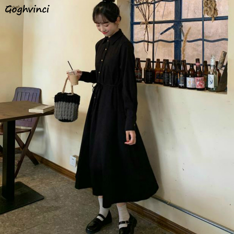 Manches longues grande taille 2XL robe femmes Preppy Style solide Simple Ulzzang élégant tout-match doux Vintage plissé mince élégant nouveau