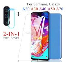 Vidro de proteção para samsung galaxy a70 a50 a20 a30 protetor de tela em para samsung a40 vidro a 30 40 50 70 câmera lente filme