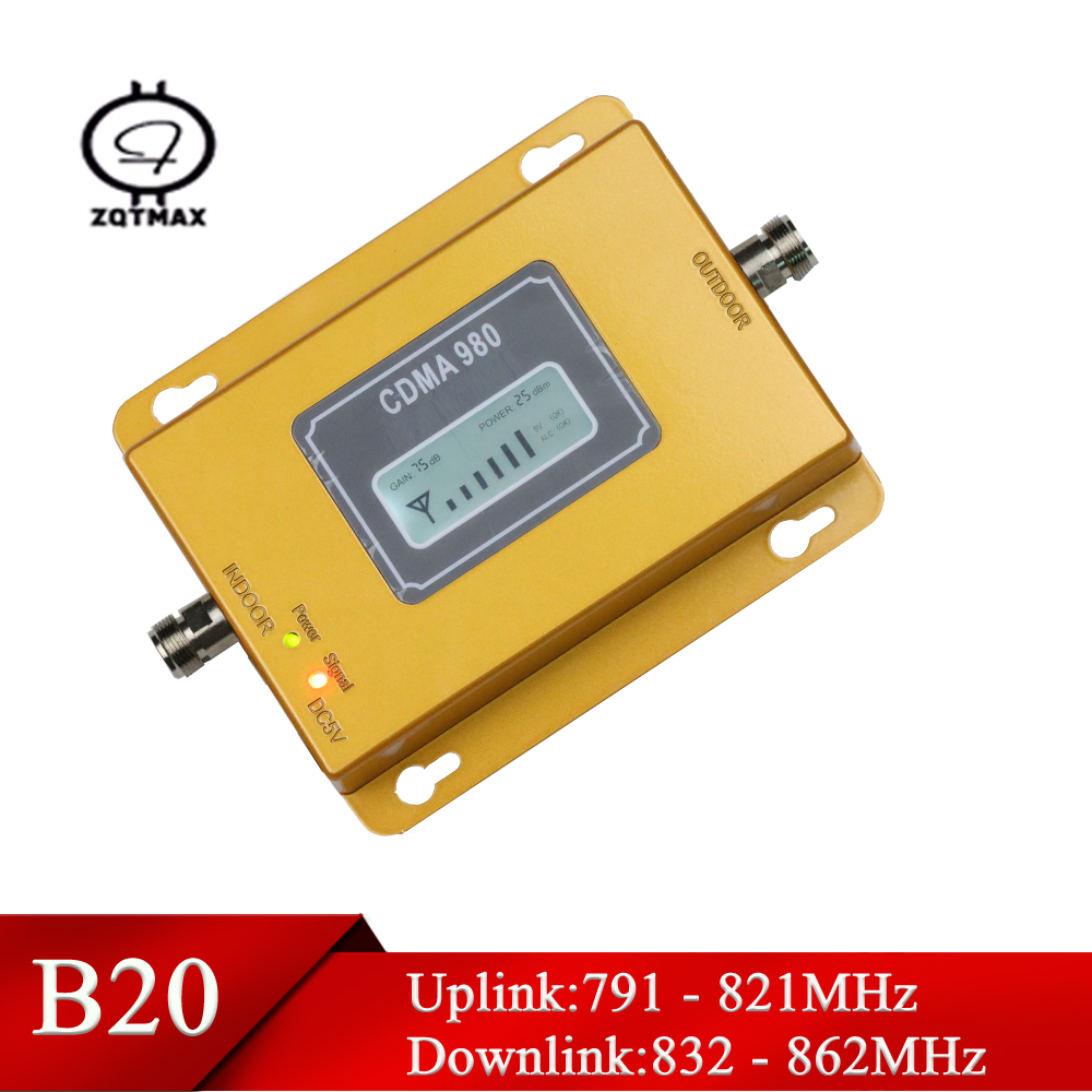 ZQTMAX Gsm Mobile Signal Booster Band 20 800MHz LTE Cellular Amplifier 4G Repeater FDD-LTE For Europe