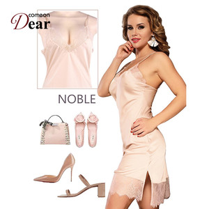 Image 5 - Comeondear Silk Satin Night Dress Lace Nightgown Women lenceria Sexy 5XL Plus Size Sleepwear Breathable Nuisette Femme RB80772