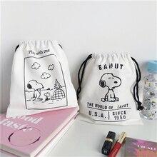 Cartoon Comic Dog Canvas Storage Bag Large Capacity Concise Drawstring Travel Cosmetic Pencil Case Kawaii School Stationery