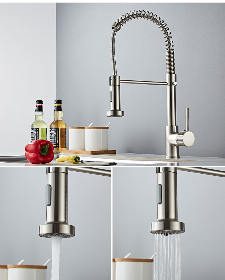 Hf5325afa7bf94a04ae237f32b7eb1bceE Deck Mounted Flexible Kitchen Faucets Pull Out Mixer Tap Black Hot Cold Kitchen Faucet Spring Style with Spray Mixers Taps E9009