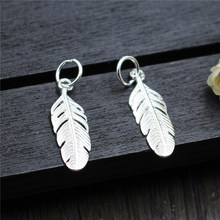 Real 925 Sterling Silver Accessories Feather Charms Pendant  Fit DIY Bracelet  Necklace Fine Jewelry Making A0241