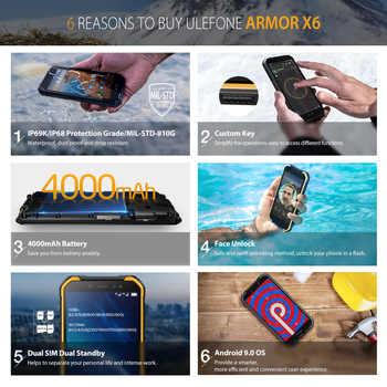 "Ulefone Armor X6 5.0\"" Rugged Smartphone IP68/IP69K Waterproof Android 9.0 Cellphone MT6580 QuadCore 2GB 16GB MobilePhone 4000mAh"
