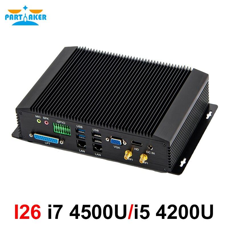 Mini komputer przemysłowy intel core i5 4200U i7 4500U 4650U z 6COM RS232 RS422 RS485 hdmi vga GPIO lokalnego publicznego transportu pasażerskiego porty dla branży medycznej