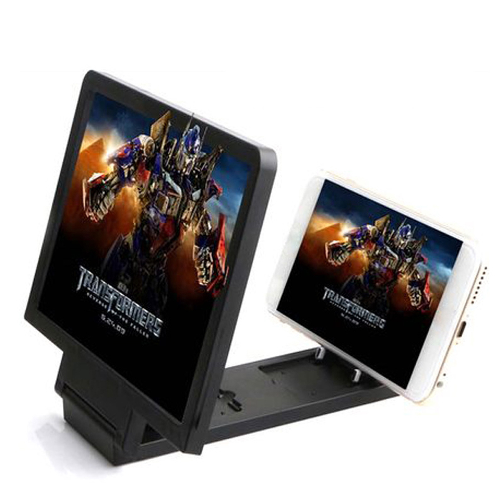 3D Phone Screen Magnifier Stereoscopic Amplifying Desktop Foldable Leather Bracket Mobile Phone Holder Tablet Holder Dropshippin