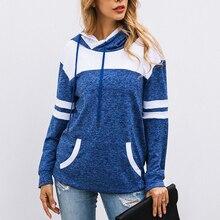 Autumn Stripe Print Women Hoody Sweatshirt Long Sleeve Pocket Hooded Pullover Plus Size Female Hoodie Casual Outerwear Coat 2019 front pocket single stripe pullover hoodie