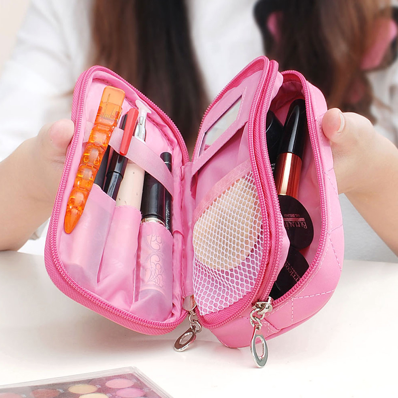 Mini Ladies With Mirror Cosmetic Bag Waterproof Storage Wash Bag Carry-on Makeup Bag Trumpet Multi-purpose Rhombic Pencil Case
