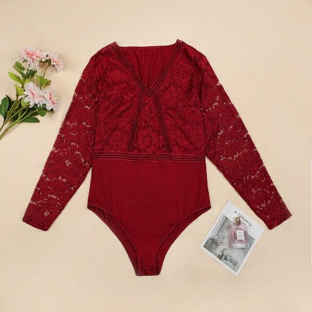 Ellolace Plus Größe Bodysuit Frauen Spitze Transparent Bodys Für Frauen  6