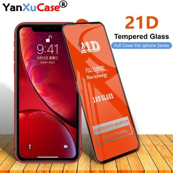 50pcs/lot 21D Screen Protector For iPhone 12 Mini 11 Pro Max XS X 8 7 6S Plus SE2 Full Coverage Cover Curved Tempered Glass Film