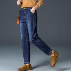 NEW 2019 Plus velvet jeans women's pants autumn and winter nine points pants wear large size middle-aged KJ15K-01-14