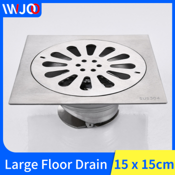15*15cm Floor Drain Stainless Steel Balcony Bathroom Shower Drain Cover Square Anti-odor Waste Grates Drains Hair Strainer 24 long floor drain stainless steel bathroom shower square floor waste grate sanitary pop up drain