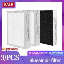 HEPA Blueair 공기 청정기 필터 활성 탄소 filte 3PCS 501 550E 510B 603 650E Blueair HEPA 필터 공기 복합