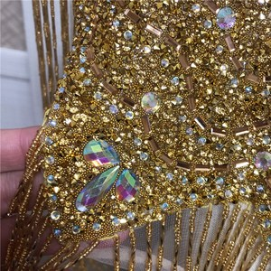 Image 5 - new Wedding wedding handmade double side  crystal beaded Neckline  collar appliques with tassels  Fringe l