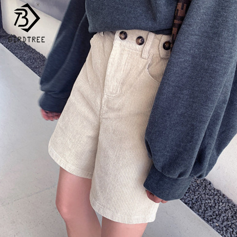 Plus Size 2020 Spring New Women's Loose Pockets Fashion Mid Waist Shorts Office Lady Buttons Female Corduroy Shorts B9D605S
