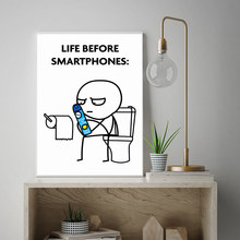 Line Fgure Funny Bathroom Poster Life Before Smartphones Quote Toilet Print Painting Wall Art Roll Paper Restroom Pictures Decor