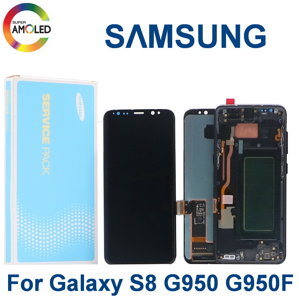 Original LCD screen For Samsung Galaxy S8 With Frame G950 <font><b>G950F</b></font> <font><b>SM</b></font>-G950FD AMOLED Lcd Display Touch Screen Digitize Dead Pixels image