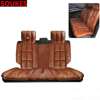 Genuin Leather For Subaru Forester Impreza Kia Ceed Rio Citroen C4 C3 C5 Fiat BMW E70 G30 E30 Car Seat Warmer Cushions Cover image