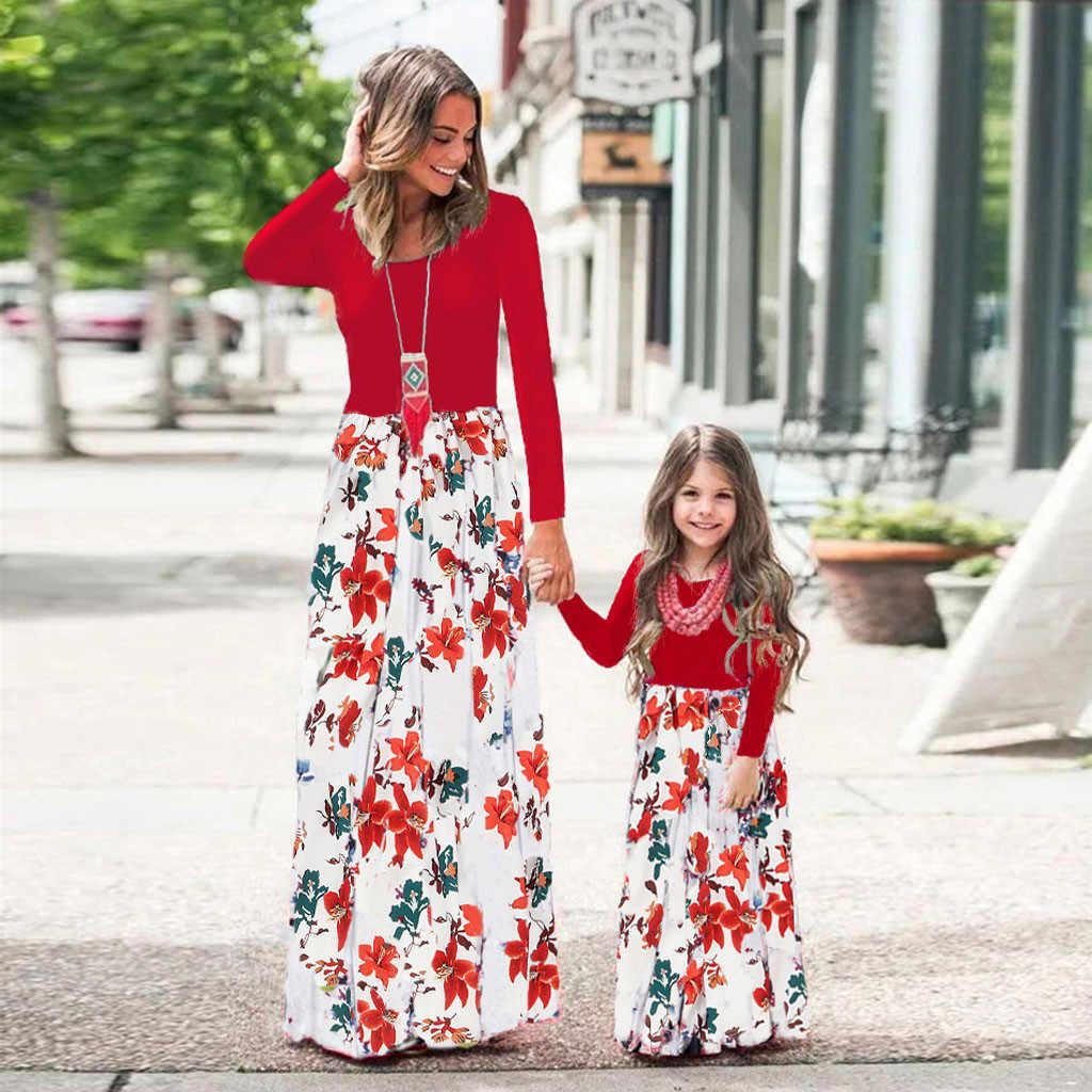 Mommy & ME ผู้หญิงแขนยาว O-Neck พิมพ์ดอกไม้ครอบครัวเสื้อผ้าชุดยาว PLUS ขนาด платье เซ็กซี่หลวมผู้หญิงเสื้อกั๊ก
