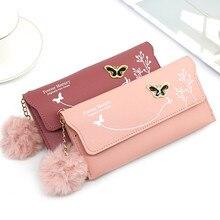 Moda borboleta feminina carteira alça de pulso caso telefone seção longa dinheiro bolso bolsa bolsa titular do cartão bolsa feminina 2020