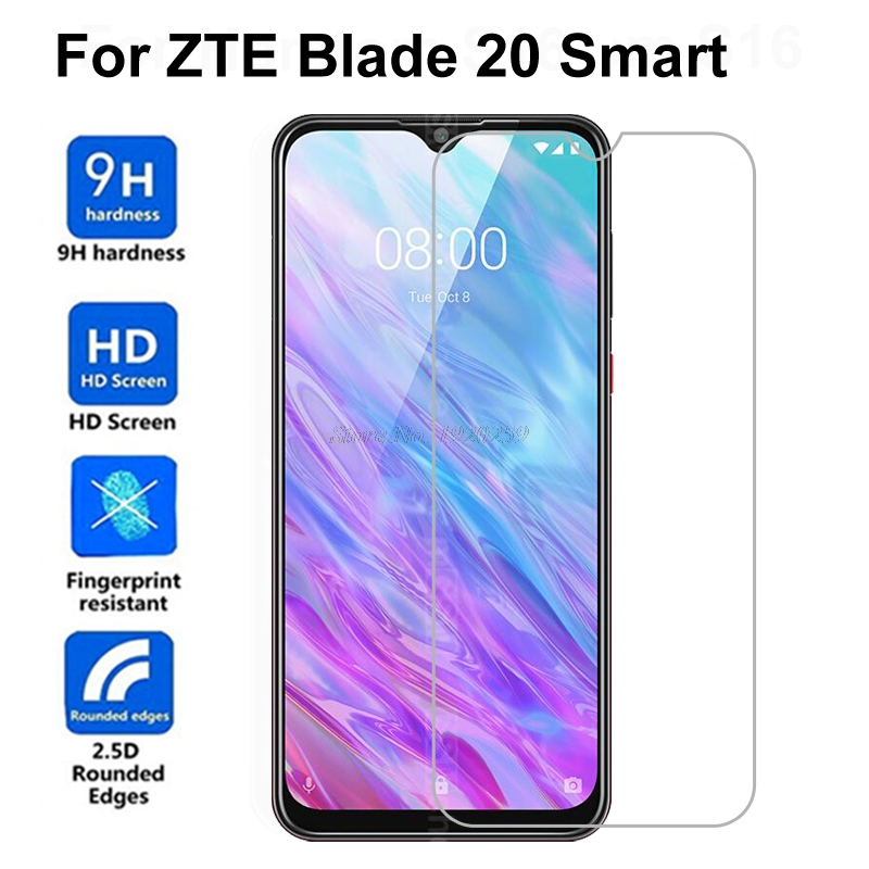 2PCS Tempered Glass For ZTE Blade 20 Smart 9H High Quality Protective Transparent Screen Protector Film For Blade 20 V1050 Film