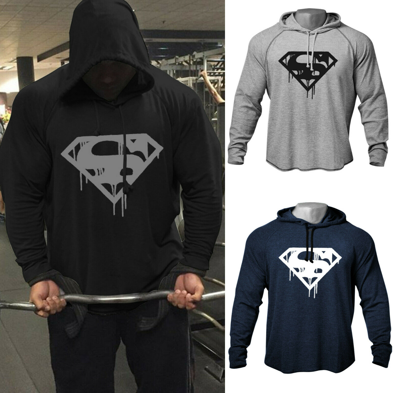 OA Men's Fitness Workout Bodybuilding Blood Superman Print Raglan Hooded Sweatshirts High Quality Hem-Cut Hoodies Tracksuit Top