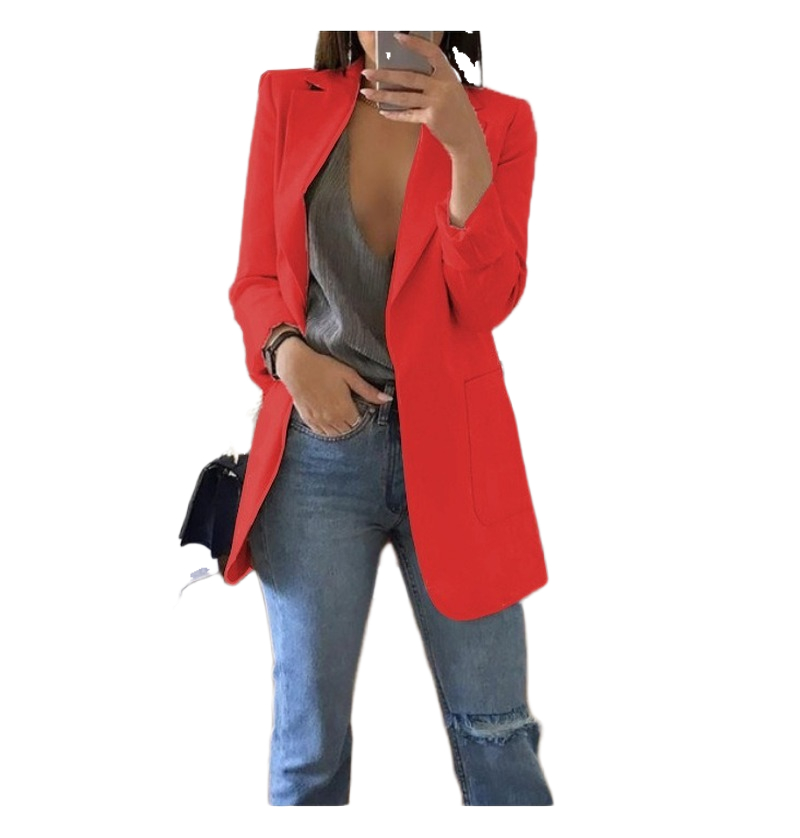 Women Long Blazer Spring Autumn 2019 Slim Outwear Elegant Overcoat 2 Pockets OL Suits Coat Female Women Blazers And Jackets