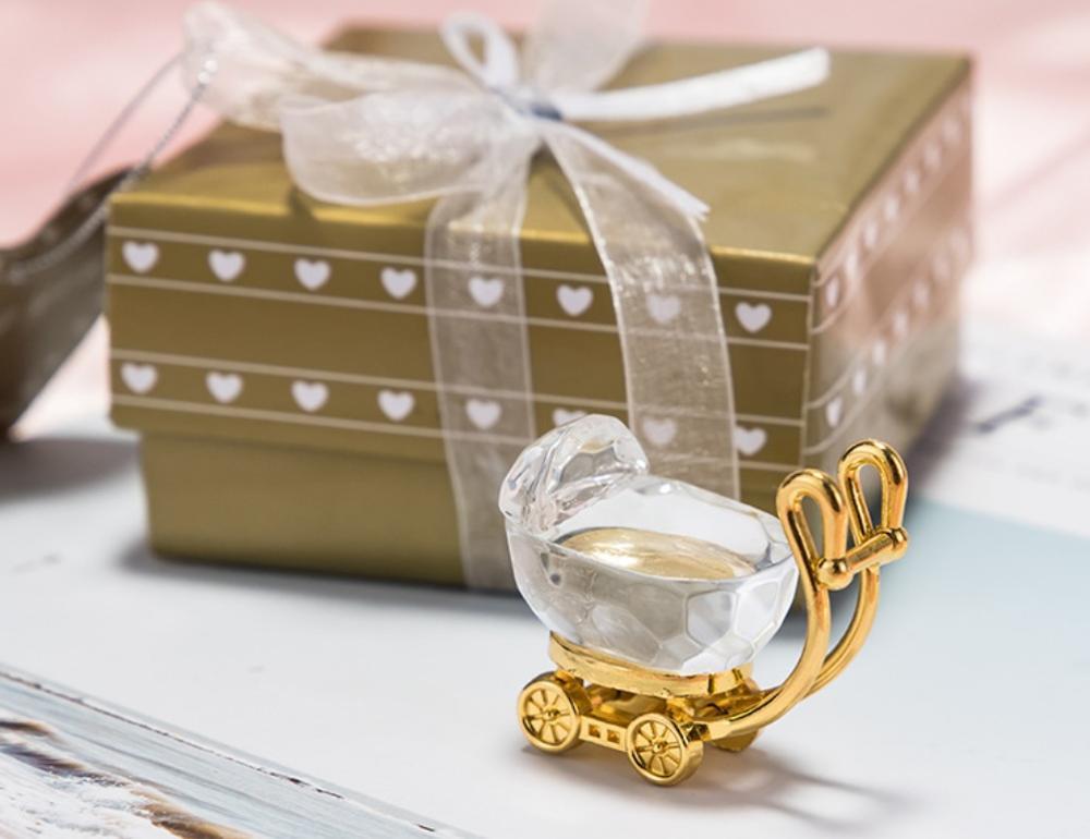 50 шт. Детские сувениры для вечеринки ко дню рождения хрустальный сувенир для детского душа Новорожденный ребенок душ мальчик девочка + серебряная коробка для подарка