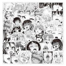52 pièces noir blanc dessin animé Sexy filles Ahegao autocollants pour ordinateur portable Adesivos artisanat fournitures Scrapbooking matériel autocollant de noël