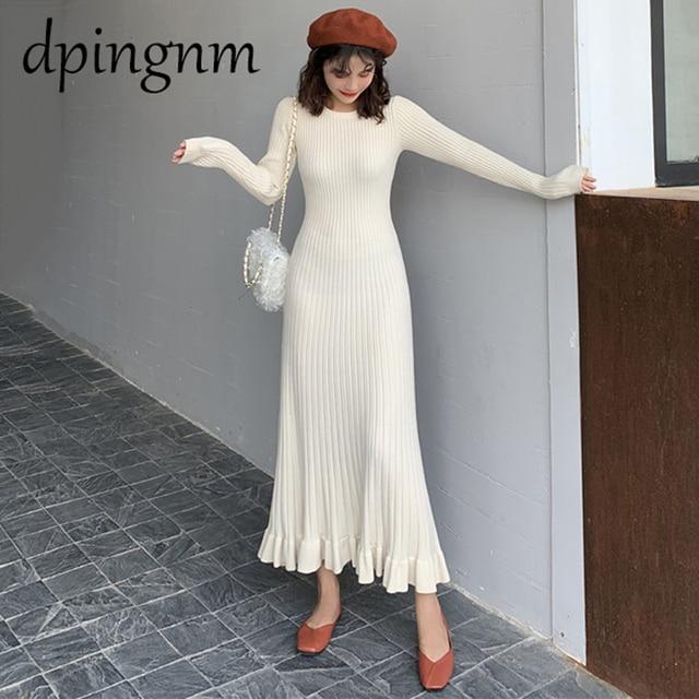 autumn winter thick sweater dress women o-neck long sweater dress elegant female a-line slim sexy knit dress