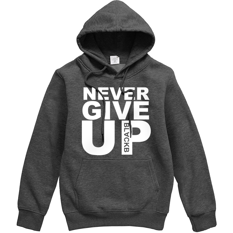 NEVER GIVE UP Letter Print Men Hoodie 2019 New Style Personality Costume Male Warm Hoody Casual Streetwear Hipster Tracksuit Men