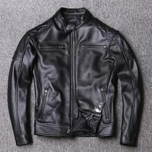 Jaqueta de couro genuíno dos homens primavera moda magro real couro preto curto jaquetas da motocicleta dos homens comprimento em 59cm-65cm