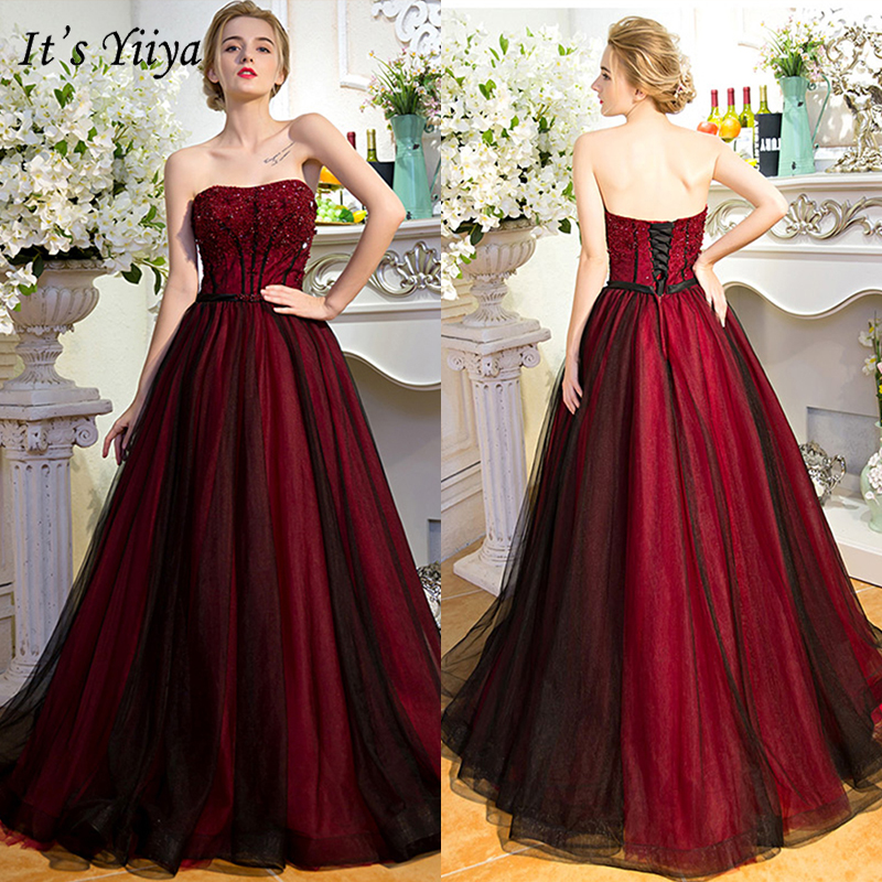It's Yiiya Evening Dress 2019 Strapless Backless Lace Up Ball Gowns Sleeveless Crystal Elegant Floor Length Formal Dresses E1032