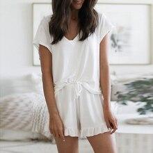 Ruffle Loose Sleepwear Women Fashion Summer Lounge Wear Nightgown Female Pajama