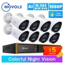 Movols 2MP AI kolorowe Night Vision zestaw CCTV H.265 + wodoodporna System monitoringu wizyjnego 8CH DVR 8 sztuk/4 sztuk kamera ochrony zestaw