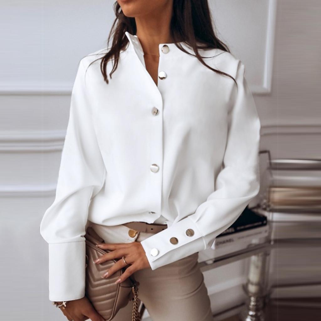 40# Women's Shirt Stand Collar Long Sleeve Metal Button Solid Casual Blouse Shirt Top Vintage Women's Clothing Oversize Shirt