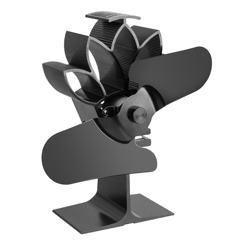 Black 4-Blade Heat Powered Wood Stove Fan with Temperature Gauge Ultra Quiet Fireplace Wood Burning Fan for Efficient Heat Distr