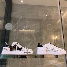 New embroidered butterfly graffiti small white shoes in Europe and America in 2019(China)