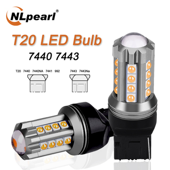 NLpeal 1x Signal Lamp T20 LED Bulb 7440 WY21W W21W Led Canbus Turn Signal Reverse Light 7443 LED W21/5W 3030SMD Brake Lights 12V nlpearl 2x signal lamp t20 w21w led w21 5w led wy21w 7440 7443 led bulb 3030 smd turn signal light brake reverse light red white
