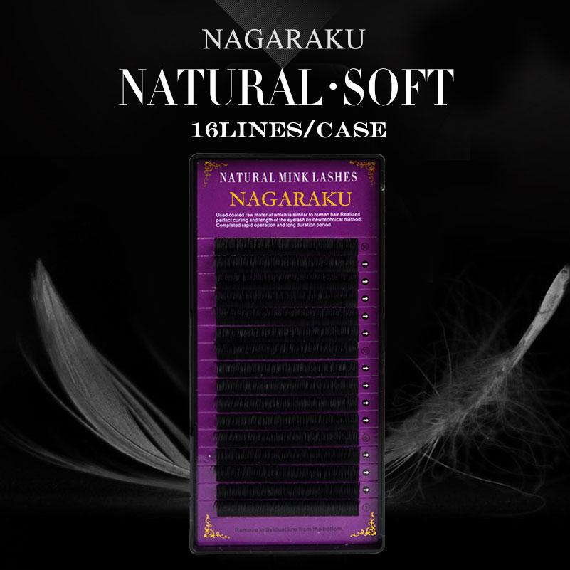 NAGARAKU 16Rows Faux lash individual eyelash extension lashes dark black matte for professionals soft natural eyelash extension