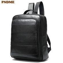 PNDME outdoor waterproof genuine leather men's black backpack casual simple large capacity cowhide travel laptop bagpack bookbag