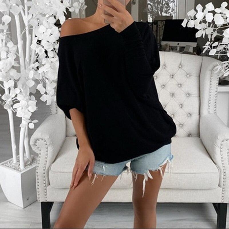 harajuku t shirt women t-shirt Long Sleeve Boat Neck Off Shoulder Top Shirt Tunic streetwear korean clothes women tops