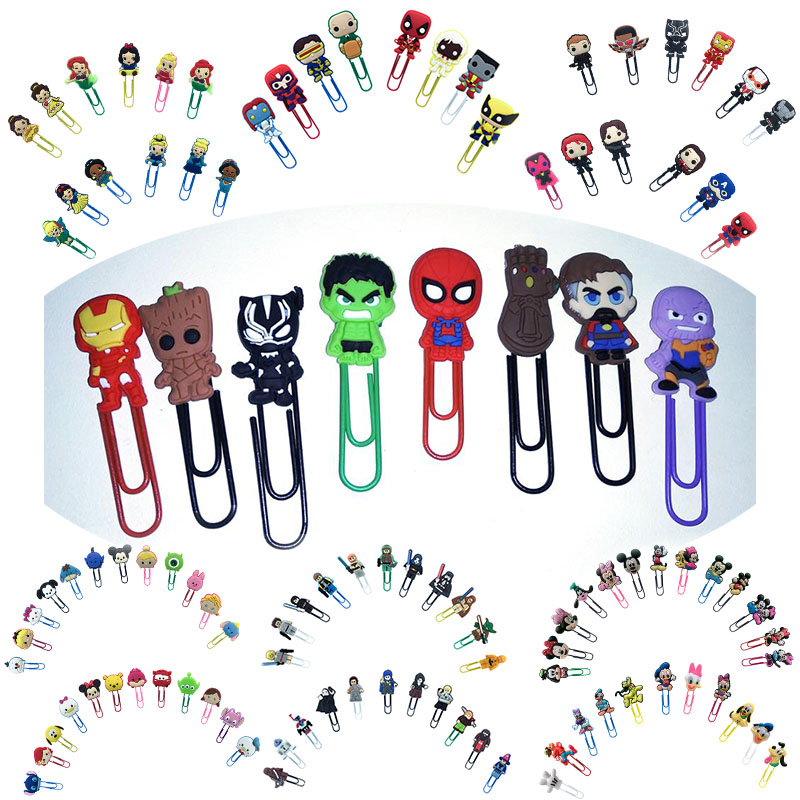 50pcs Classic Cartoon PVC Bookmarks  Paper Clips School Office Supply Page Holder Stationery For Teacher Student Gift To Friend