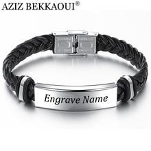 AZIZ BEKKAOUI гравировка имя черная коса тканый кожаный браслет из нержавеющей стали мужской браслет мужские ювелирные изделия винтажный подарок