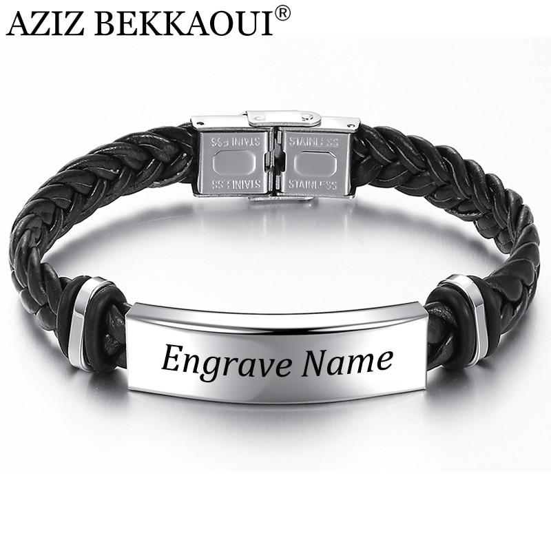 AZIZ BEKKAOUI Engrave Name Black Braid Woven Leather Bracelet Stainless Steel Bracelet Men Bangle Men Jewelry Vintage Gift
