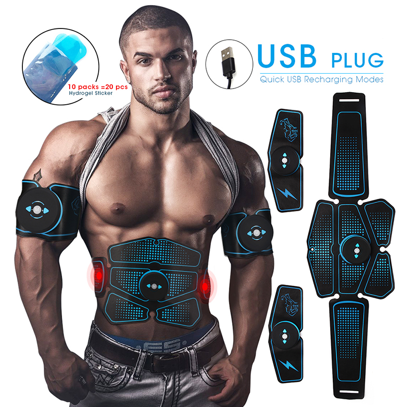 6pcs ABS Wireless  Abdominal Muscle Stimulator Trainer Smart Fitness Training Electric Weight Loss Stickers Body Slimming Belt