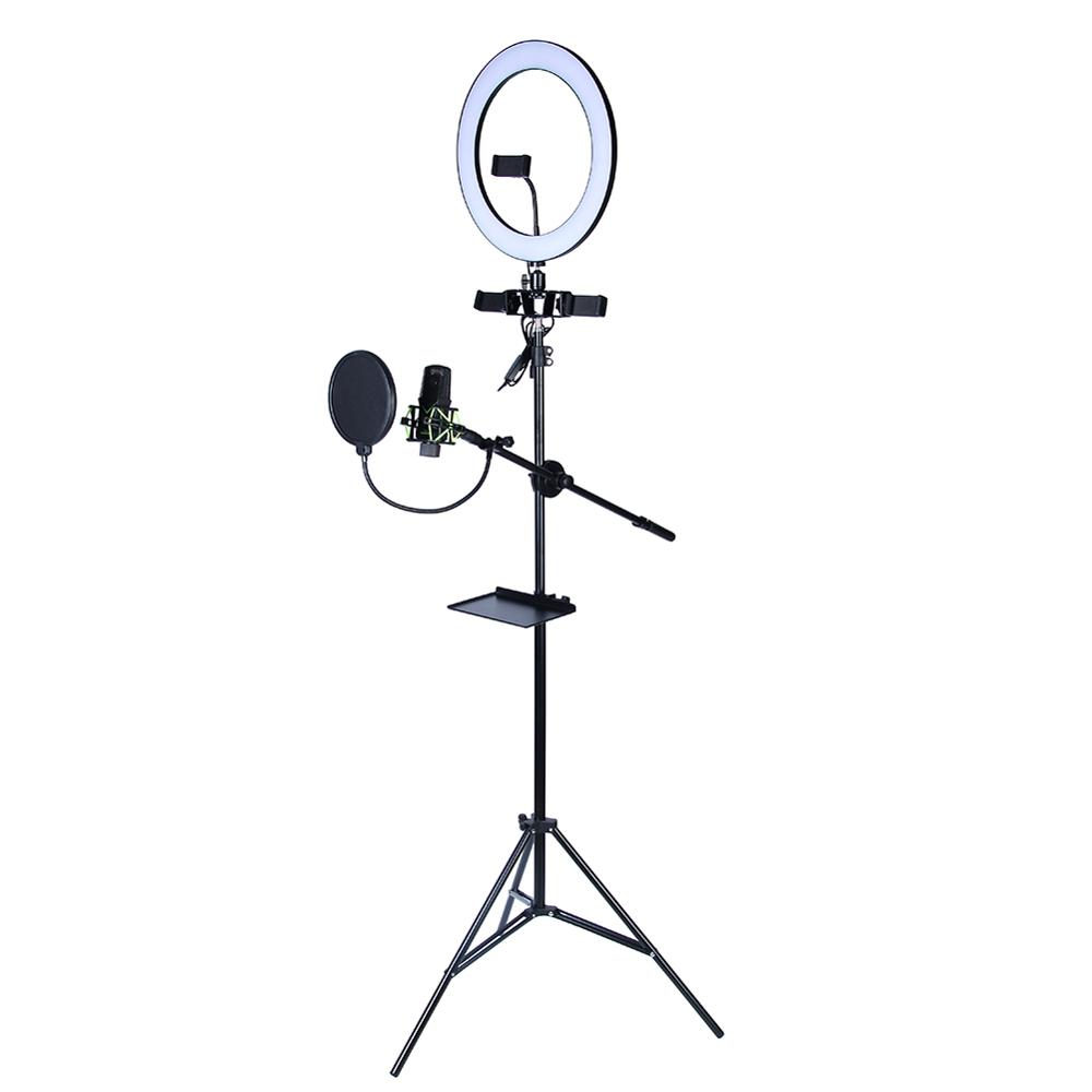 HAA FEE Live Streaming Equipment LED Ring Fill Light Lamp LED Light Tripod Mobile Phone Bracket Microphone Stand