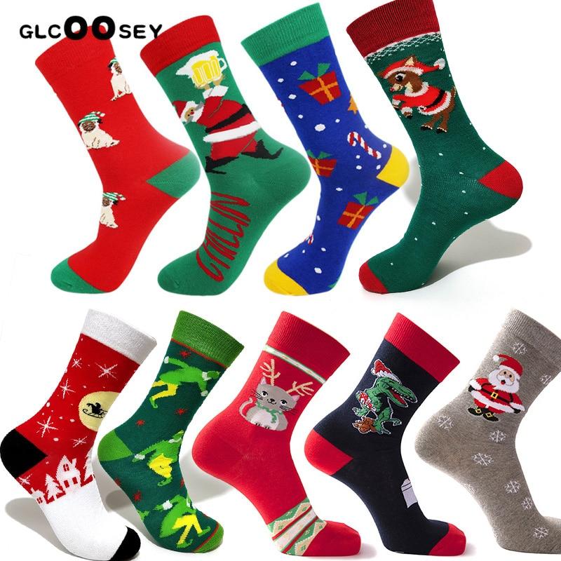 Christmas Tree Snow Elk Gift Cotton Happy Socks PEONFLY New 2019 Autumn Winter Christmas Socks Men Funny New Year Santa Claus