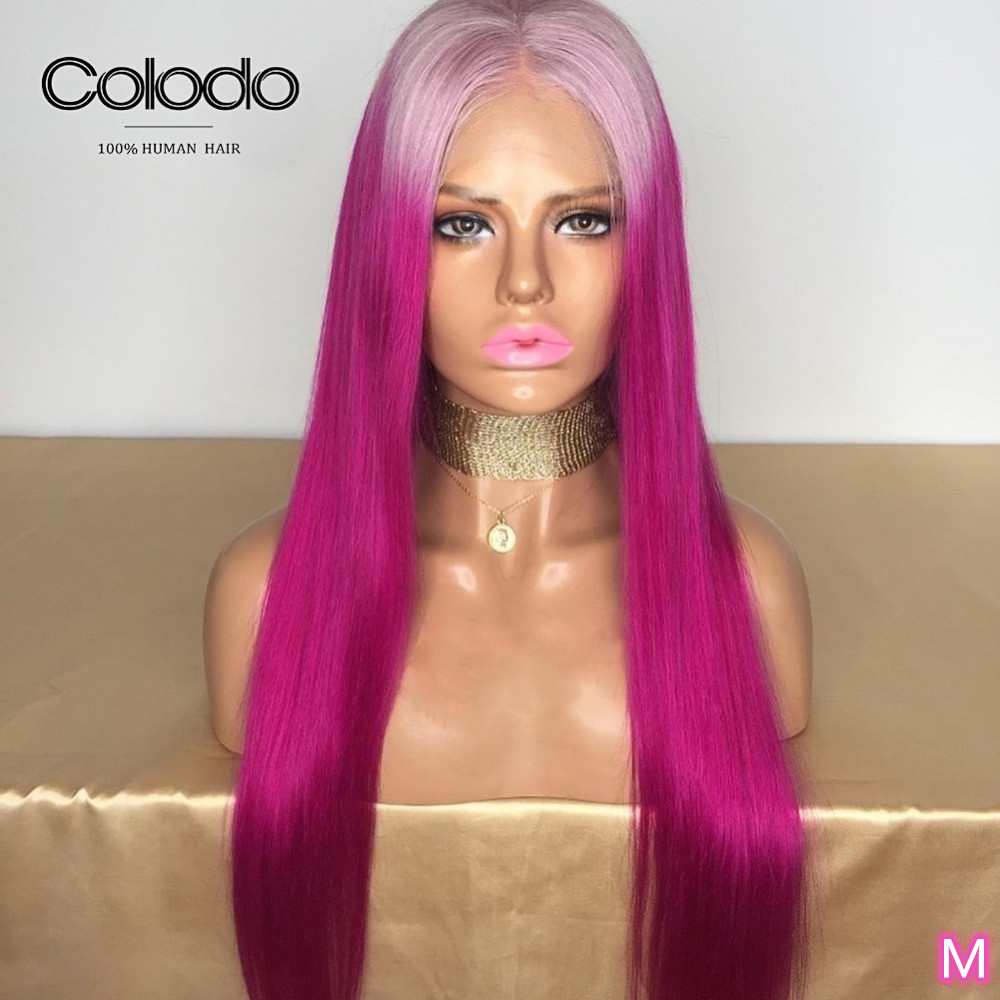 COLODO Ombre Rose Pink 13x4 Lace Front Human Hair Wigs Pre Plucked Middle Ratio Brazilian Remy 130%/150% Grey Straight Wigs