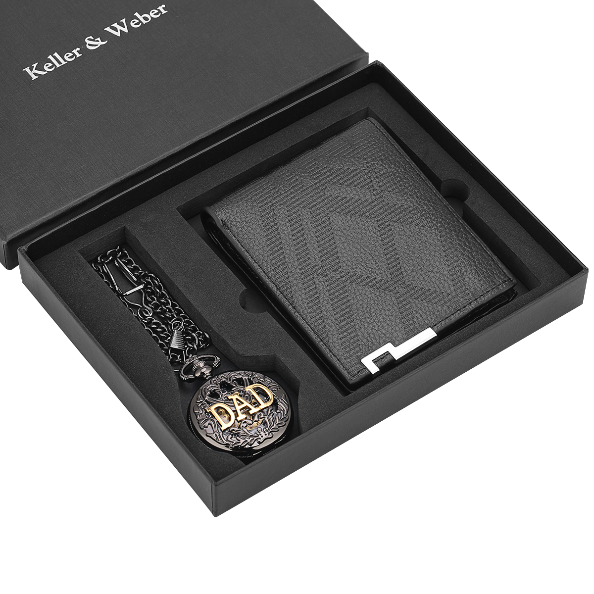 Mechanical Hand Wind Pendant Fob Watches Pocket Watch Wallet Gift Set Antique Business Male Wallet Husband Dad Christmas Gifts
